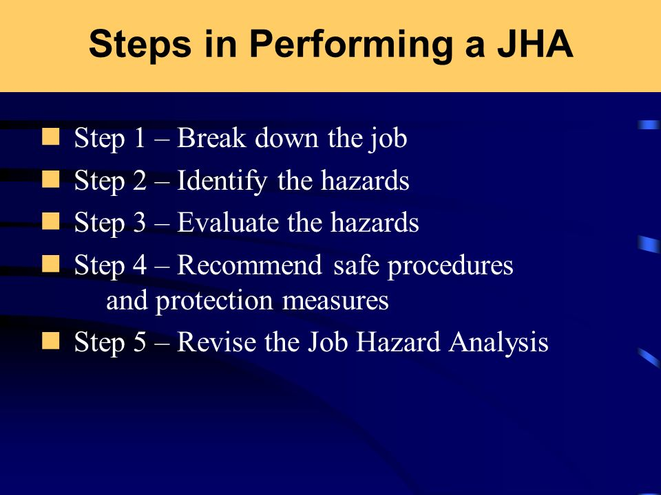 Steps in Performing a JHA