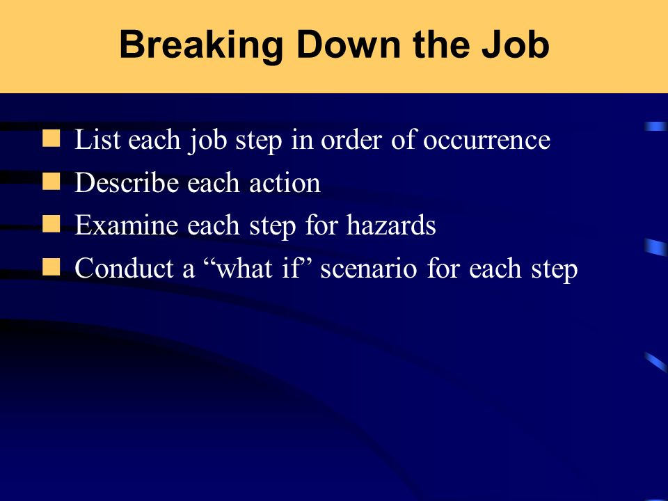 Breaking Down the Job List each job step in order of occurrence