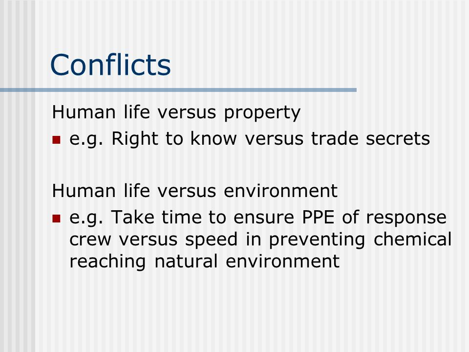 Conflicts Human life versus property