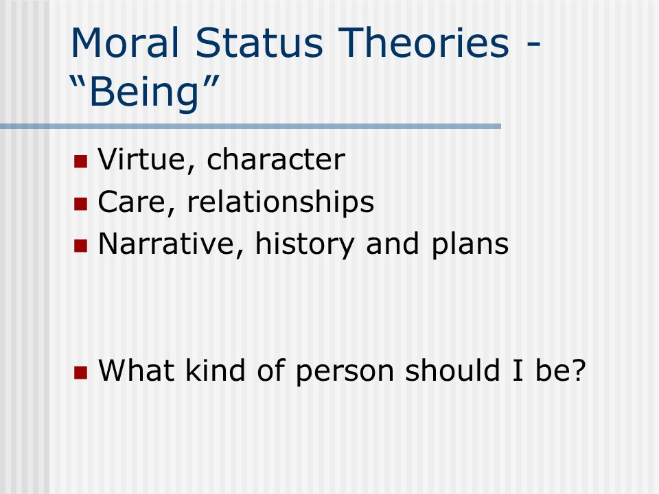 Moral Status Theories - Being