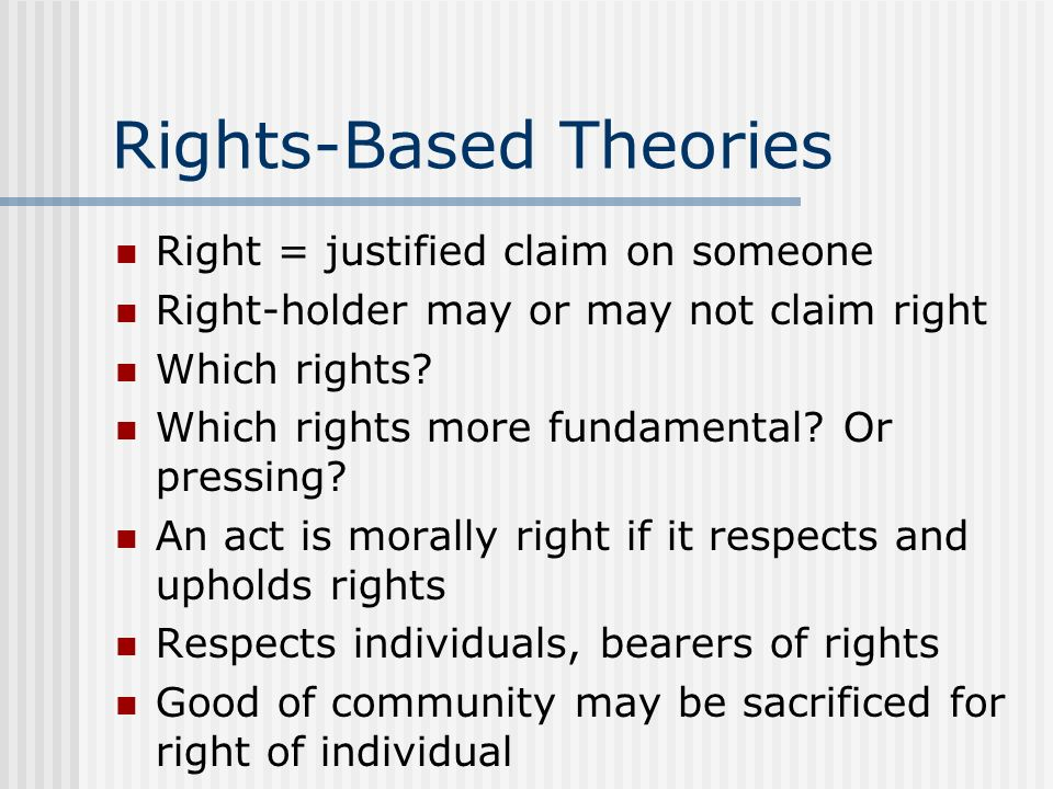 Rights-Based Theories