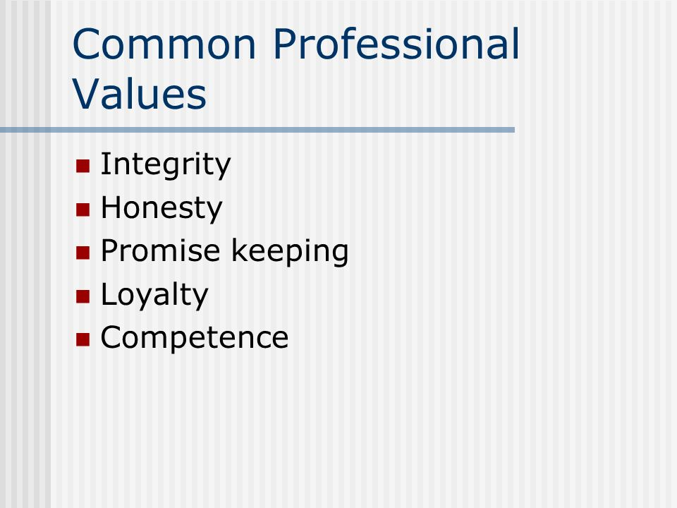 Common Professional Values