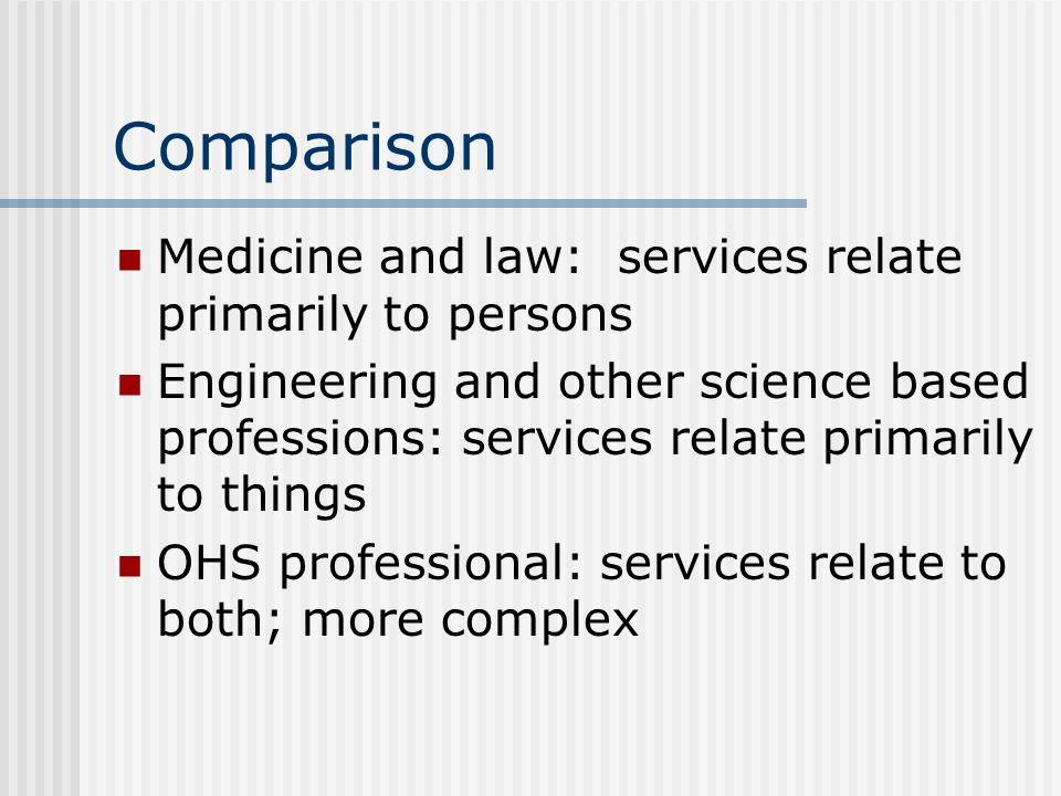Comparison Medicine and law: services relate primarily to persons