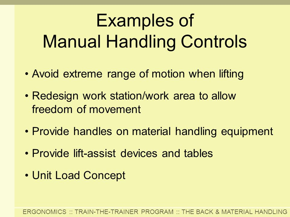 Examples of Manual Handling Controls