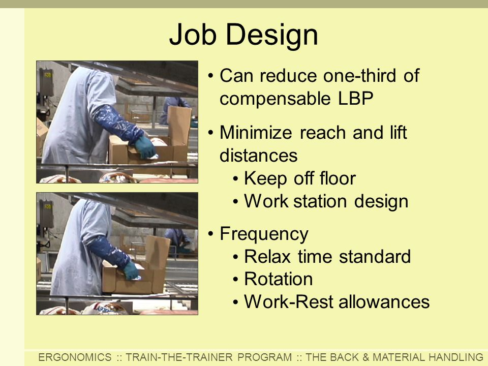 Job Design Can reduce one-third of compensable LBP