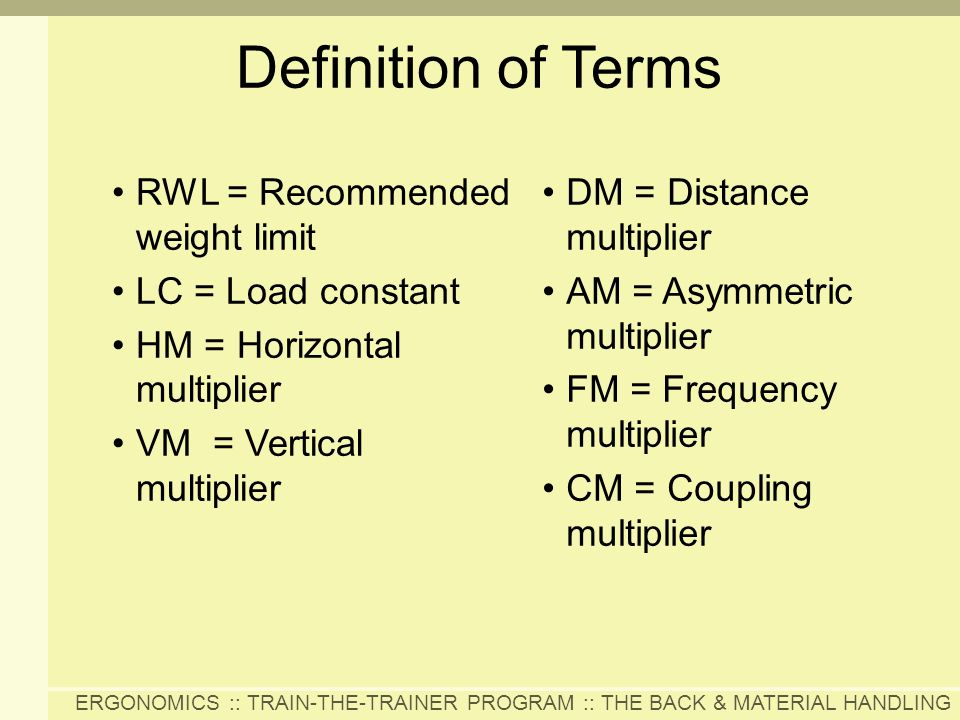 Definition of Terms RWL = Recommended weight limit LC = Load constant