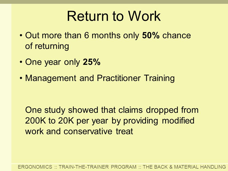 Return to Work Out more than 6 months only 50% chance of returning