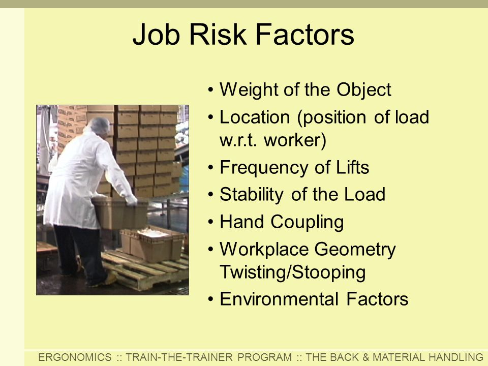 Job Risk Factors Weight of the Object