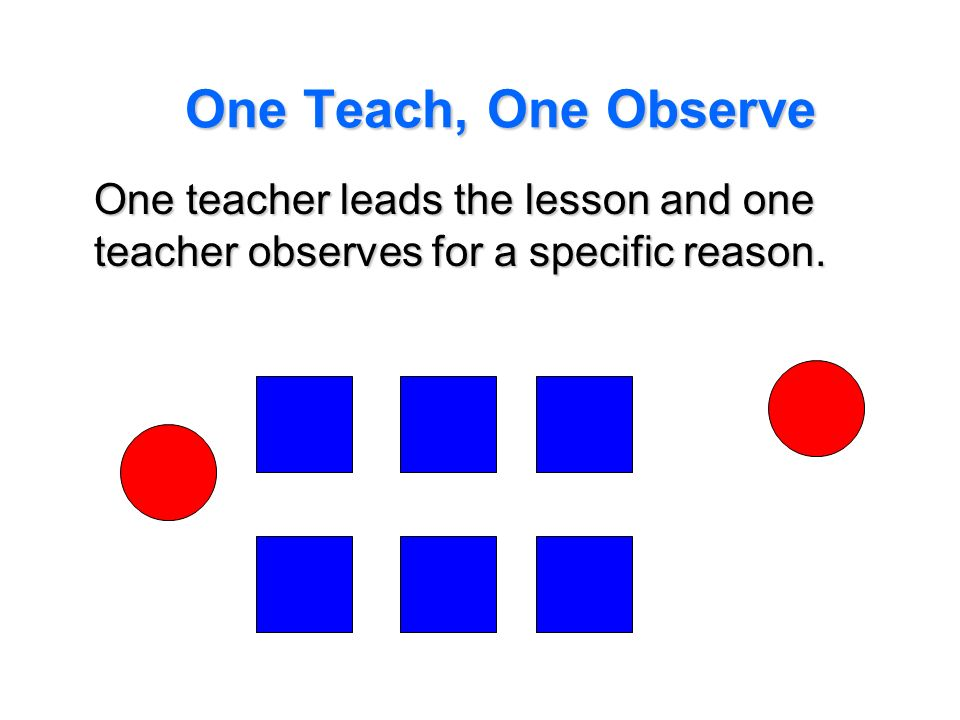 One Teach, One Observe One teacher leads the lesson and one teacher observes for a specific reason.