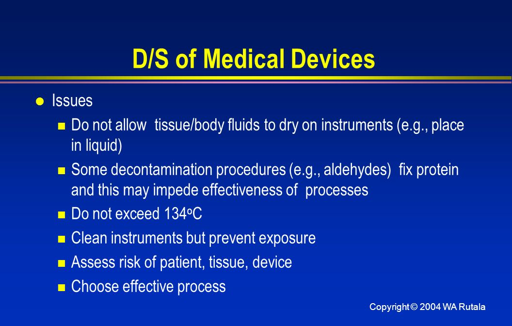 D/S of Medical Devices Issues