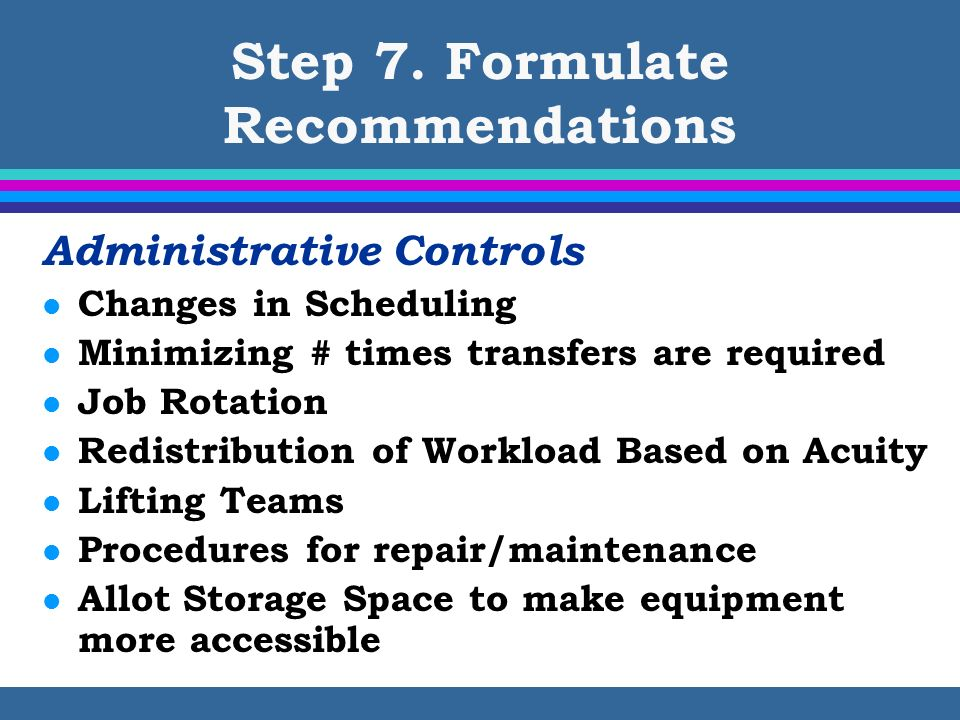 Step 7. Formulate Recommendations