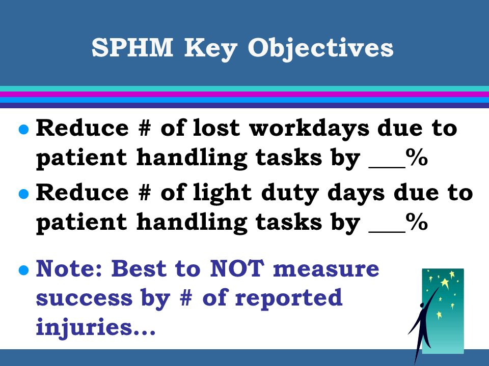 SPHM Key Objectives Reduce # of lost workdays due to patient handling tasks by ___%