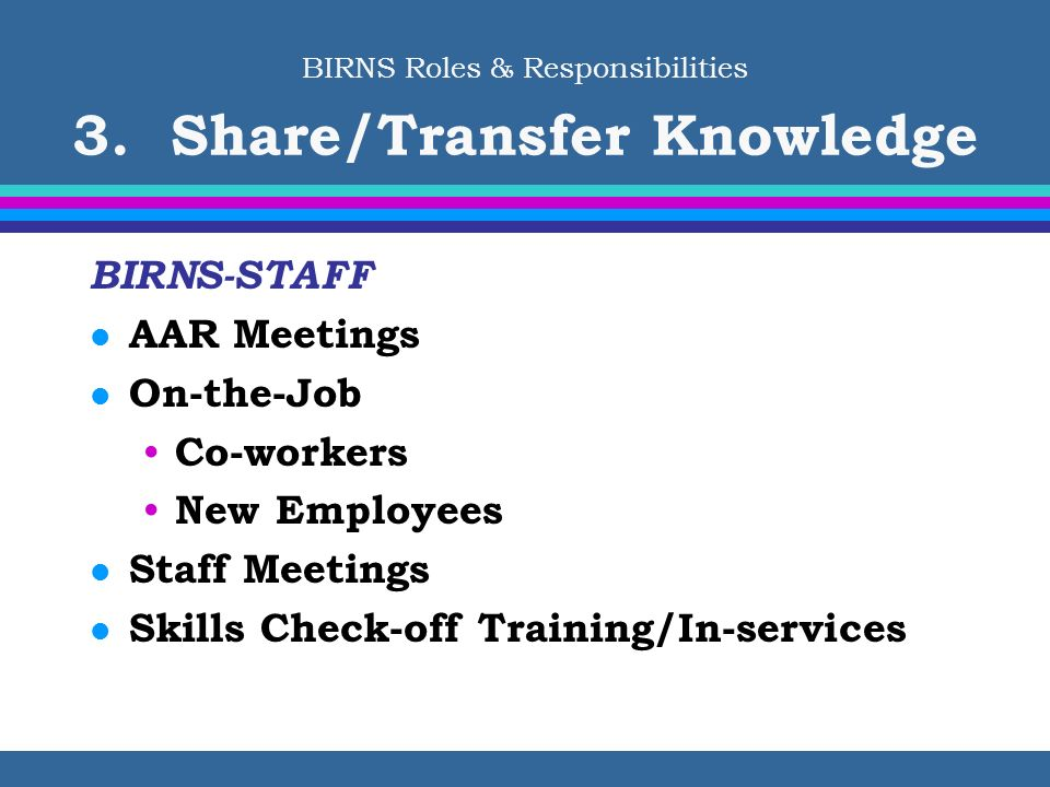BIRNS Roles & Responsibilities 3. Share/Transfer Knowledge