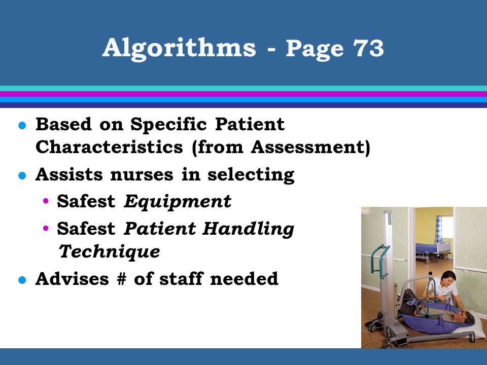 Algorithms - Page 73 Based on Specific Patient Characteristics (from Assessment) Assists nurses in selecting.