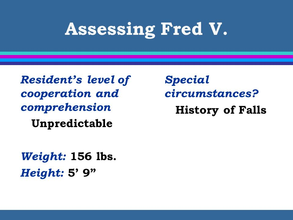 Assessing Fred V. Resident's level of cooperation and comprehension