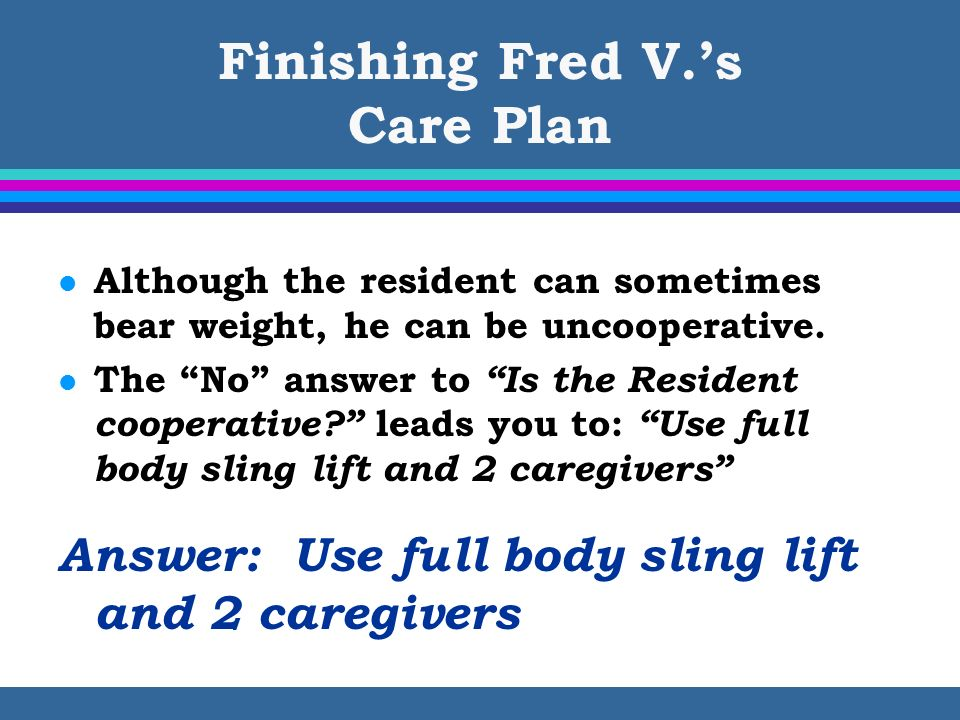 Finishing Fred V.'s Care Plan