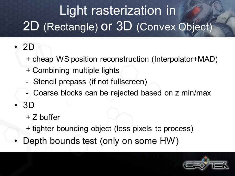 Light rasterization in 2D (Rectangle) or 3D (Convex Object)