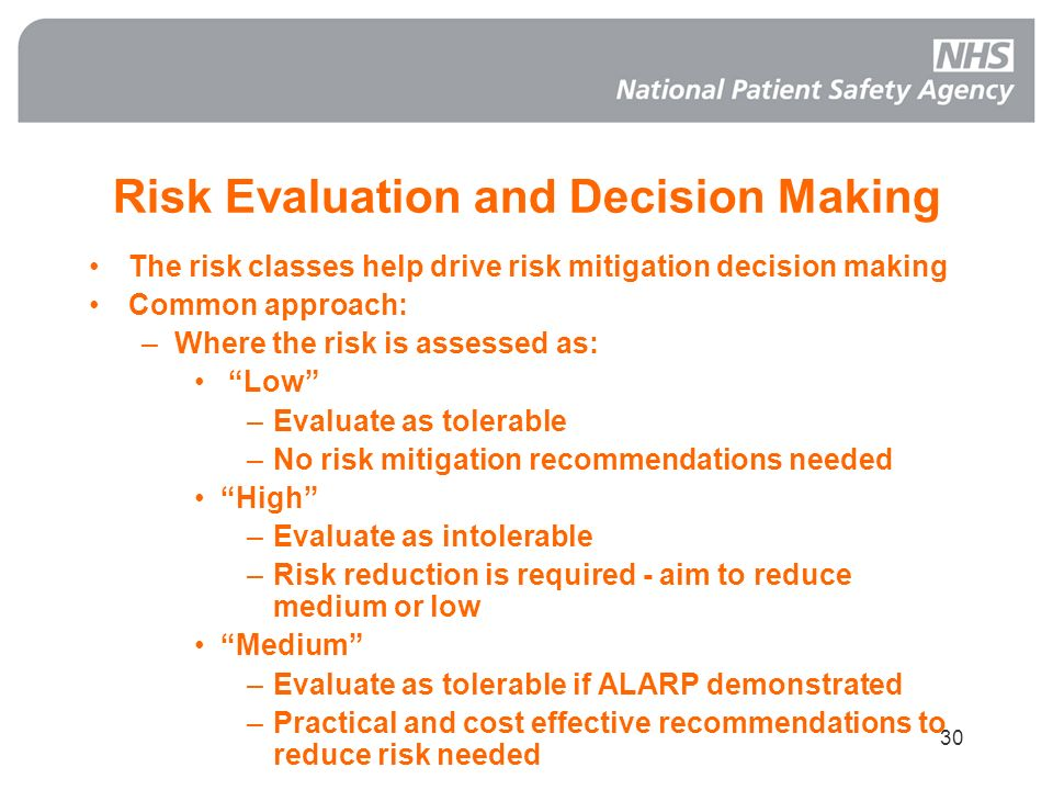 Risk Evaluation and Decision Making