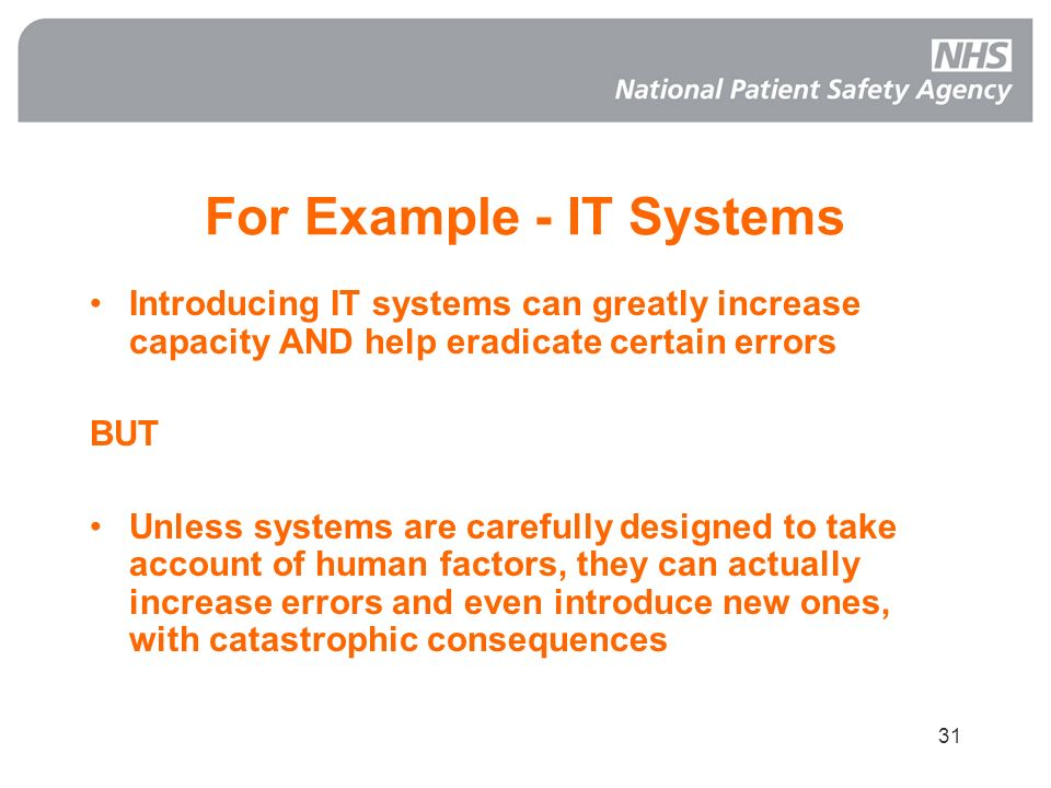 For Example - IT Systems