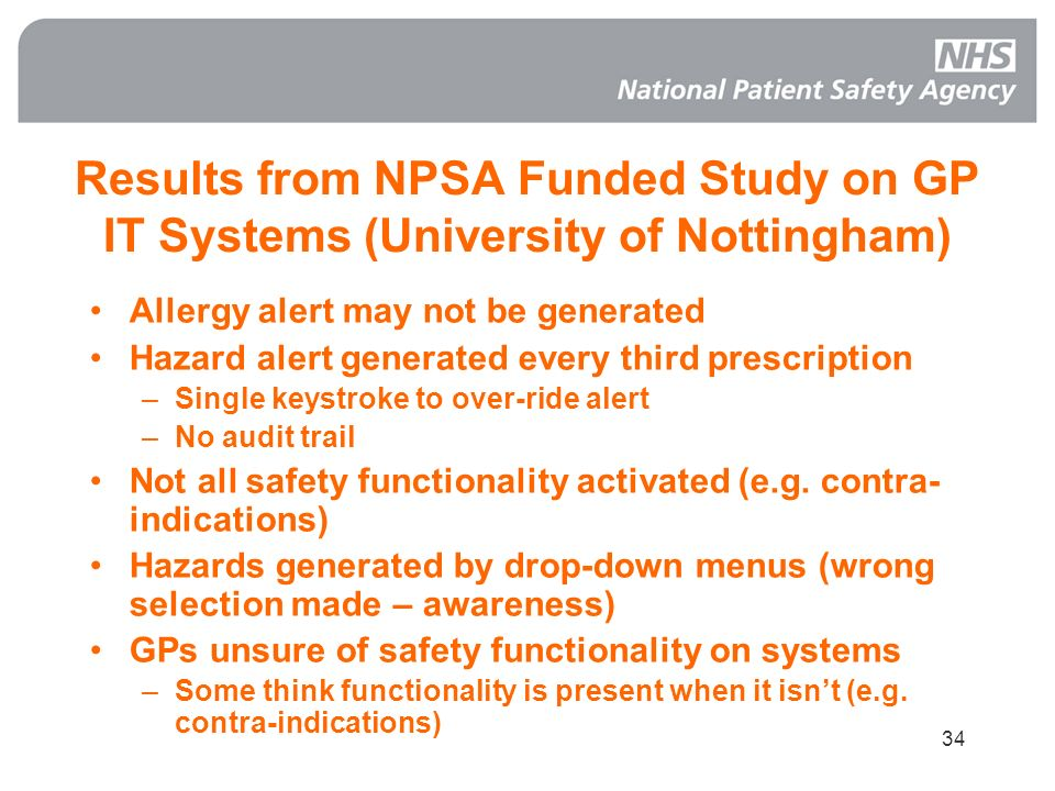 Results from NPSA Funded Study on GP IT Systems (University of Nottingham)