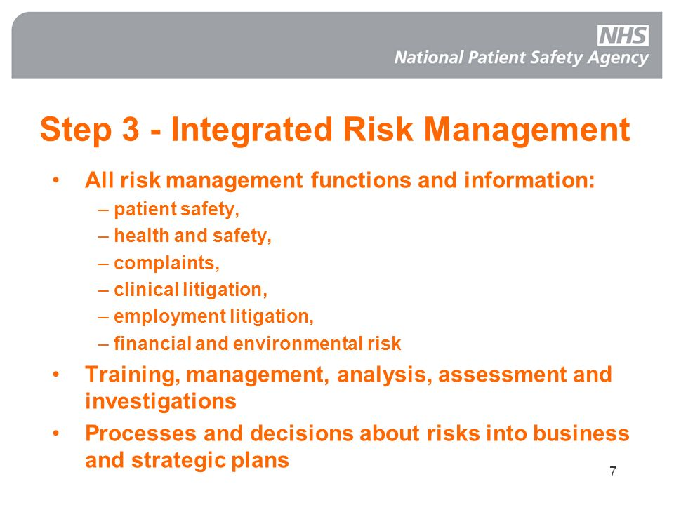 Step 3 - Integrated Risk Management