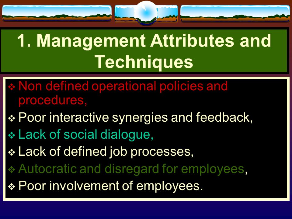 1. Management Attributes and Techniques