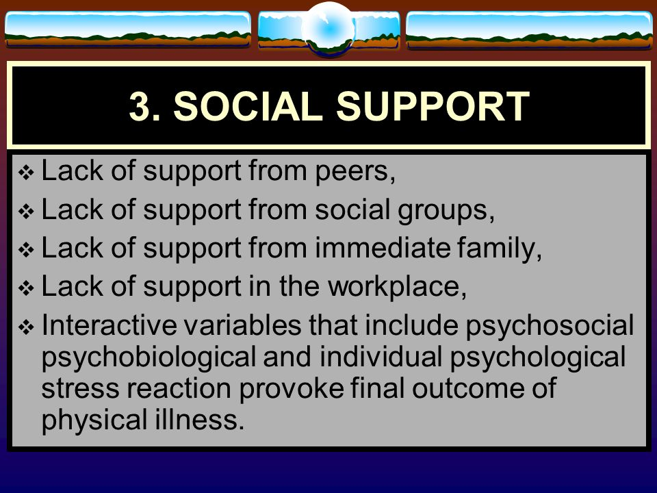 3. SOCIAL SUPPORT Lack of support from peers,