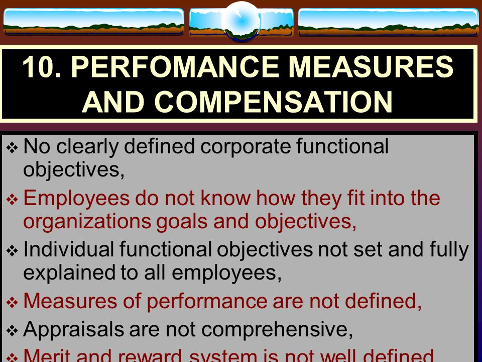 10. PERFOMANCE MEASURES AND COMPENSATION