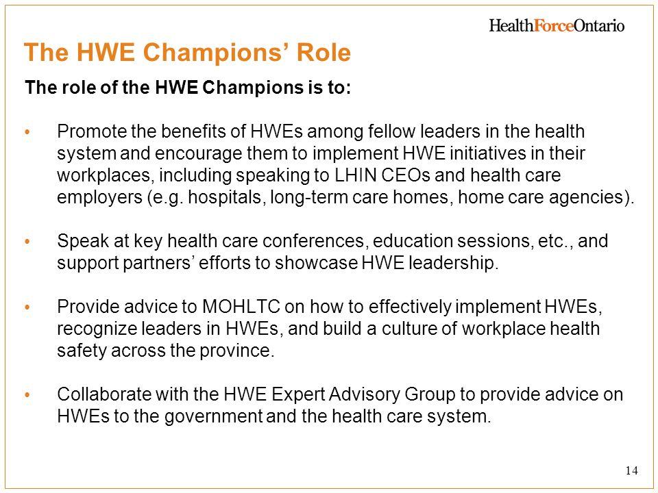 The HWE Champions' Role