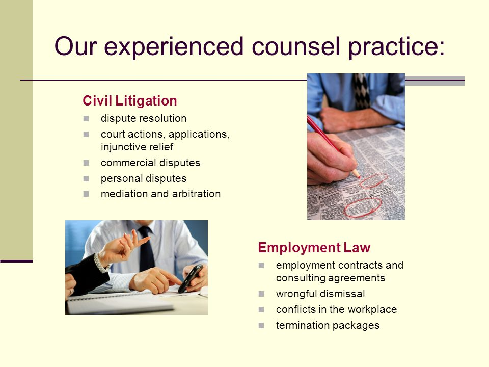 Our experienced counsel practice: