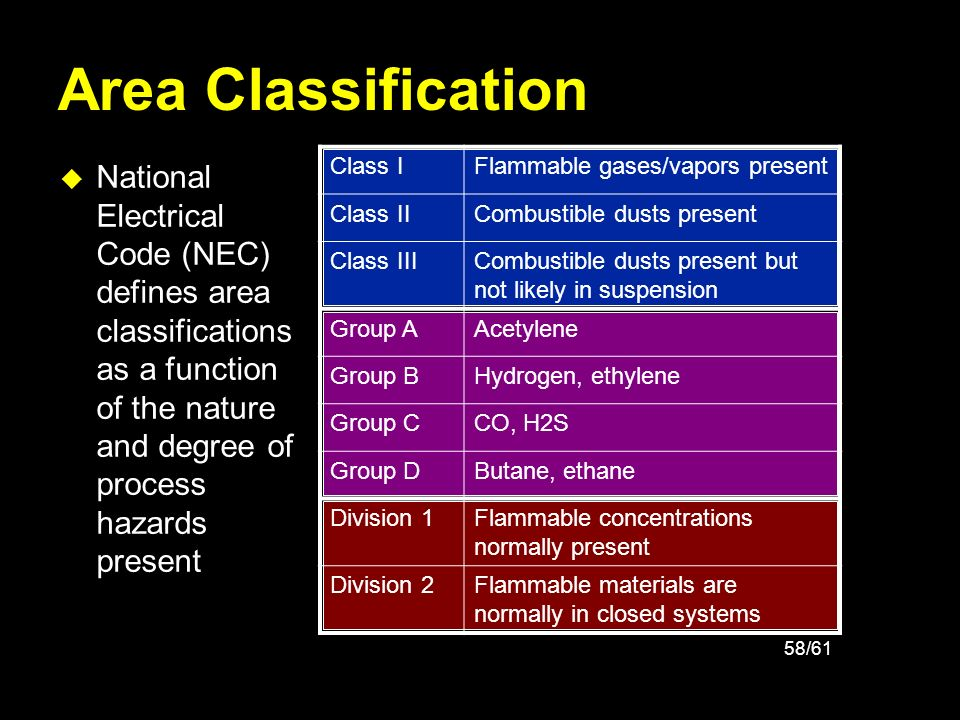 Area Classification National Electrical Code (NEC) defines area classifications as a function of the nature and degree of process hazards present.