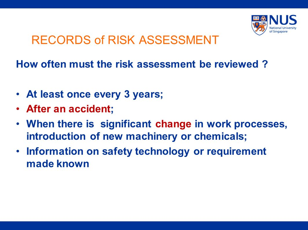 RECORDS of RISK ASSESSMENT