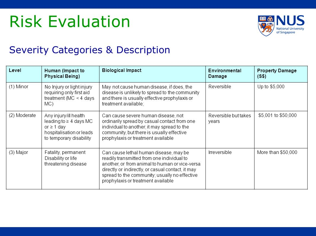 Risk Evaluation Severity Categories & Description Level
