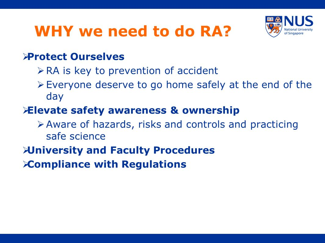 WHY we need to do RA Protect Ourselves