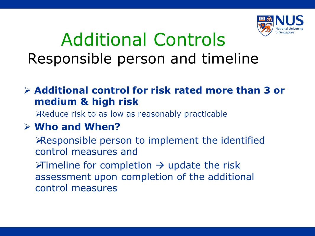 Additional Controls Responsible person and timeline