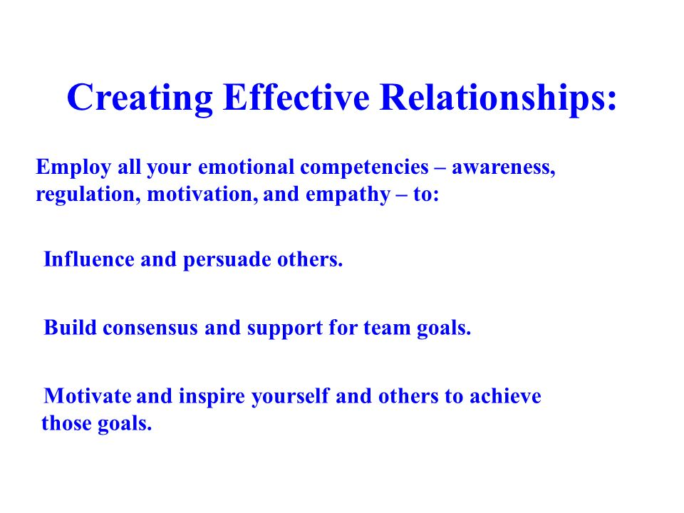 Creating Effective Relationships: