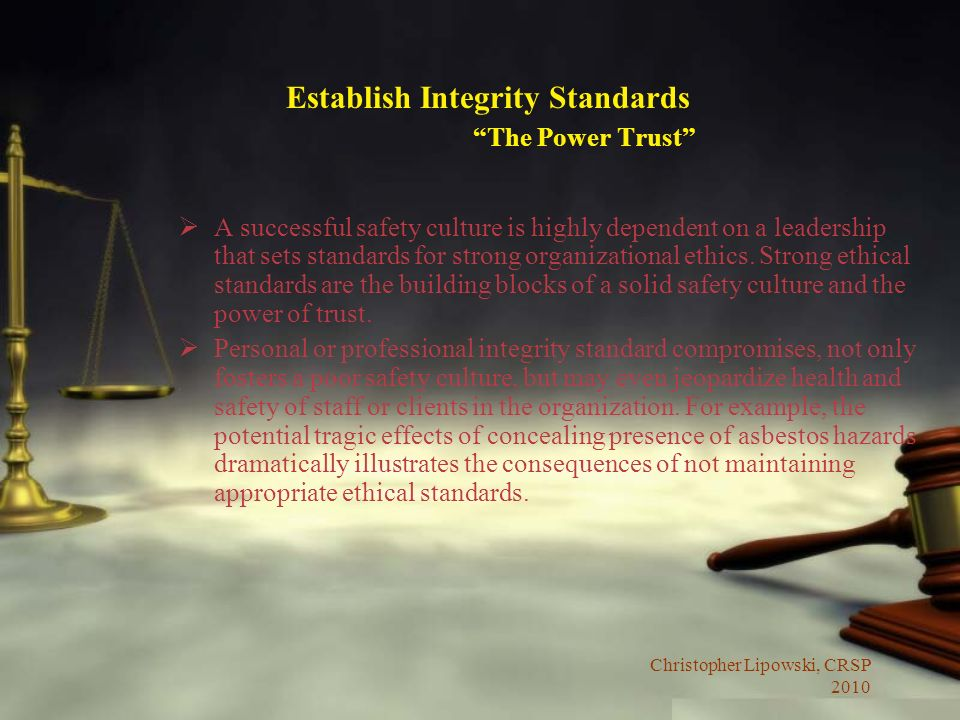 Establish Integrity Standards The Power Trust