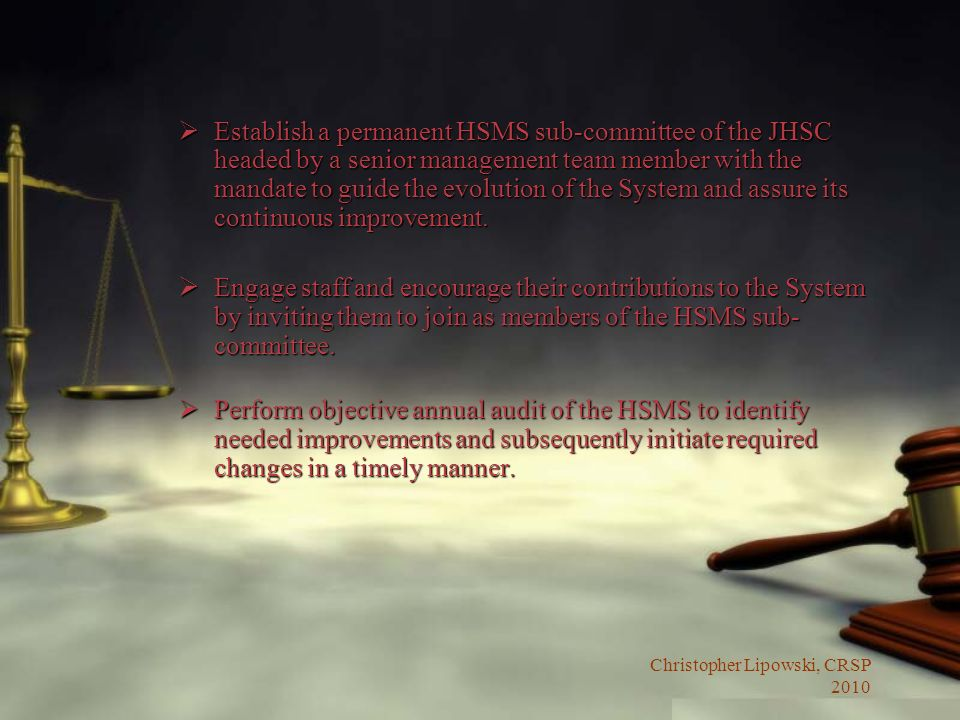 Establish a permanent HSMS sub-committee of the JHSC headed by a senior management team member with the mandate to guide the evolution of the System and assure its continuous improvement.