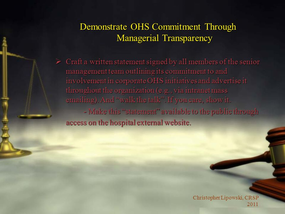 Demonstrate OHS Commitment Through Managerial Transparency