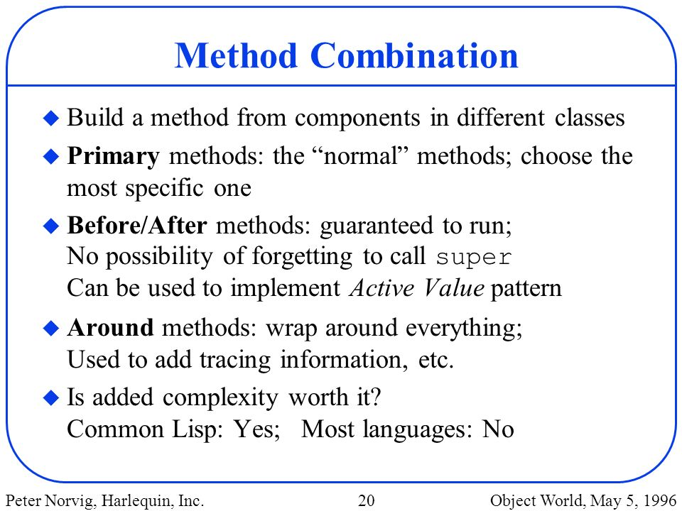 Method Combination Build a method from components in different classes