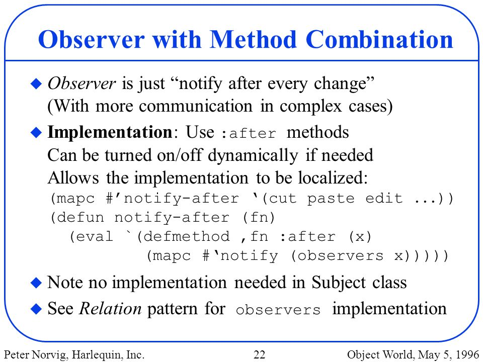 Observer with Method Combination