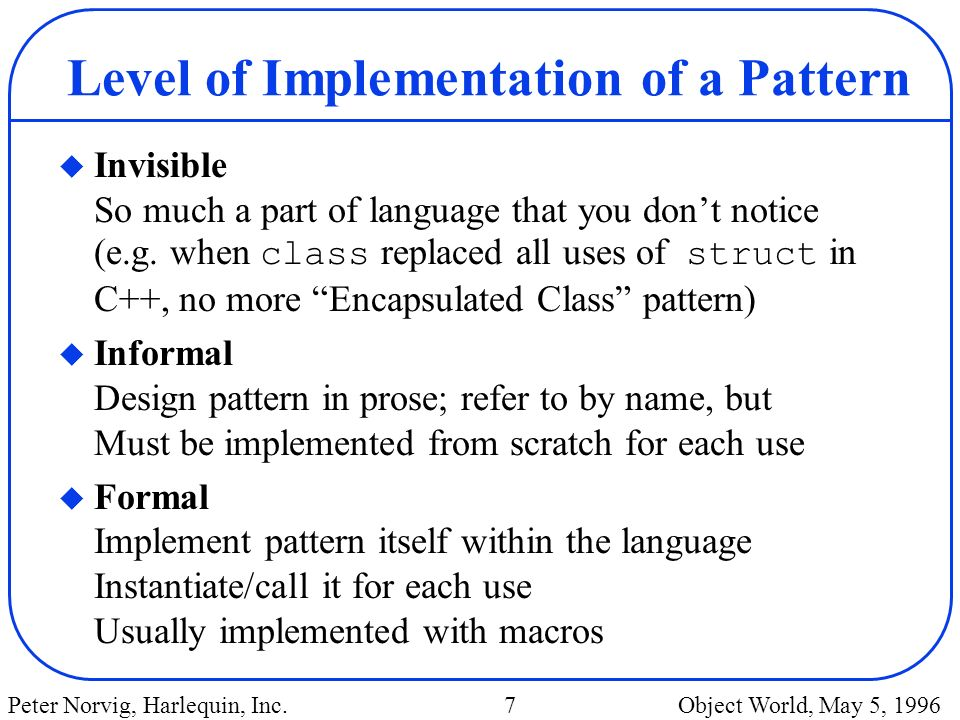 Level of Implementation of a Pattern