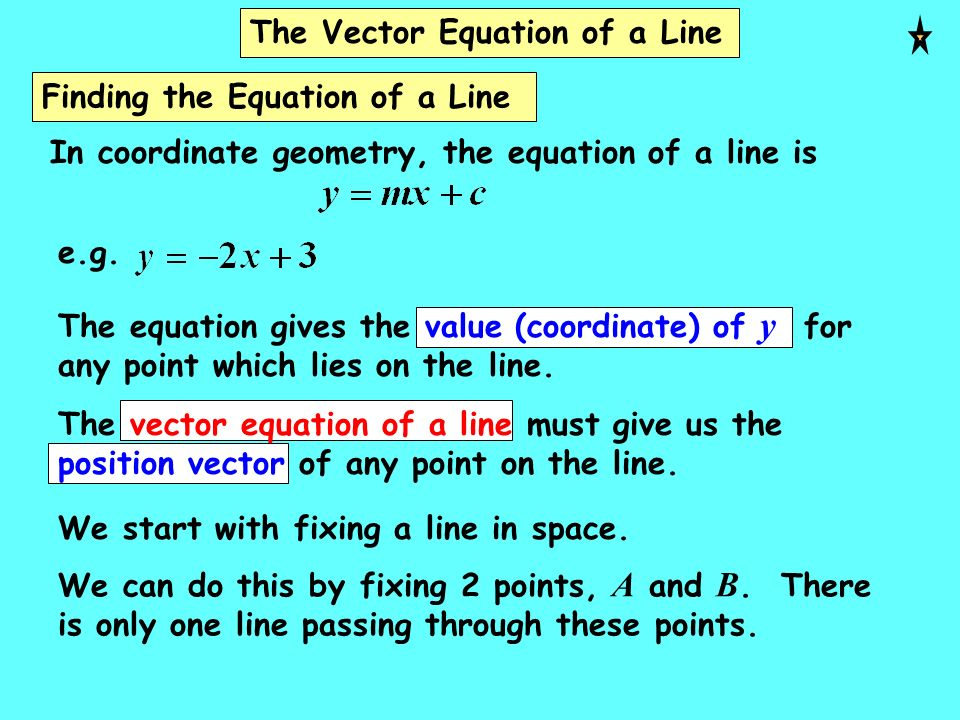 The Vector Equation of a Line