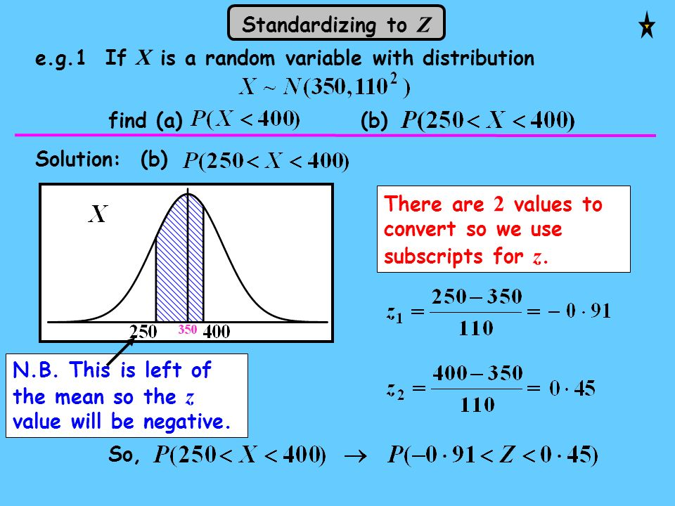 Standardizing to Z e.g.1 If X is a random variable with distribution. find (a) (b)