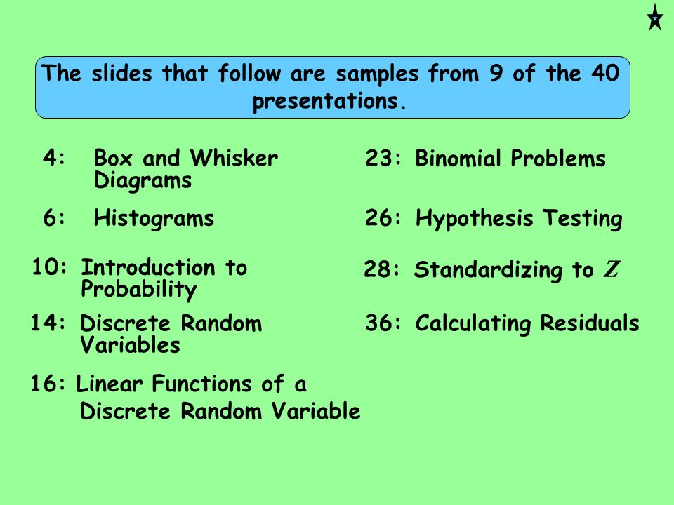 The slides that follow are samples from 9 of the 40 presentations.