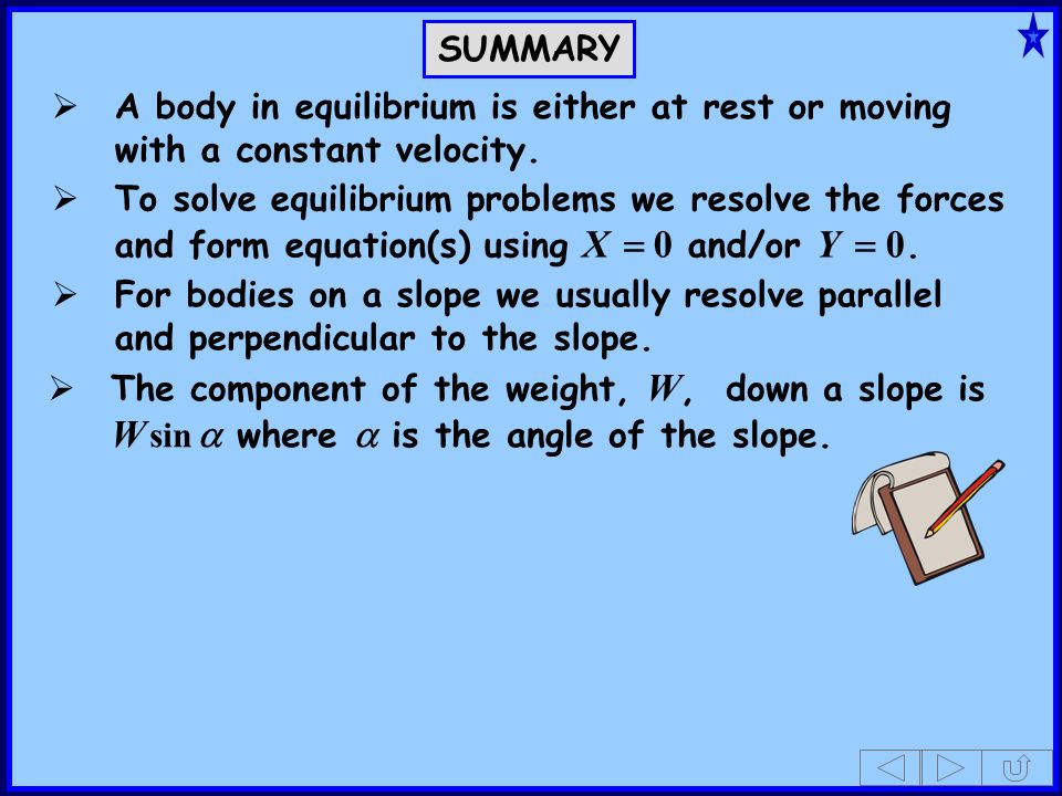 SUMMARY A body in equilibrium is either at rest or moving with a constant velocity.