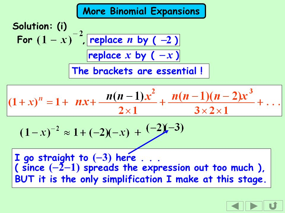 Solution: (i) For , replace n by. ( -2 ) replace x by. ( - x ) The brackets are essential !