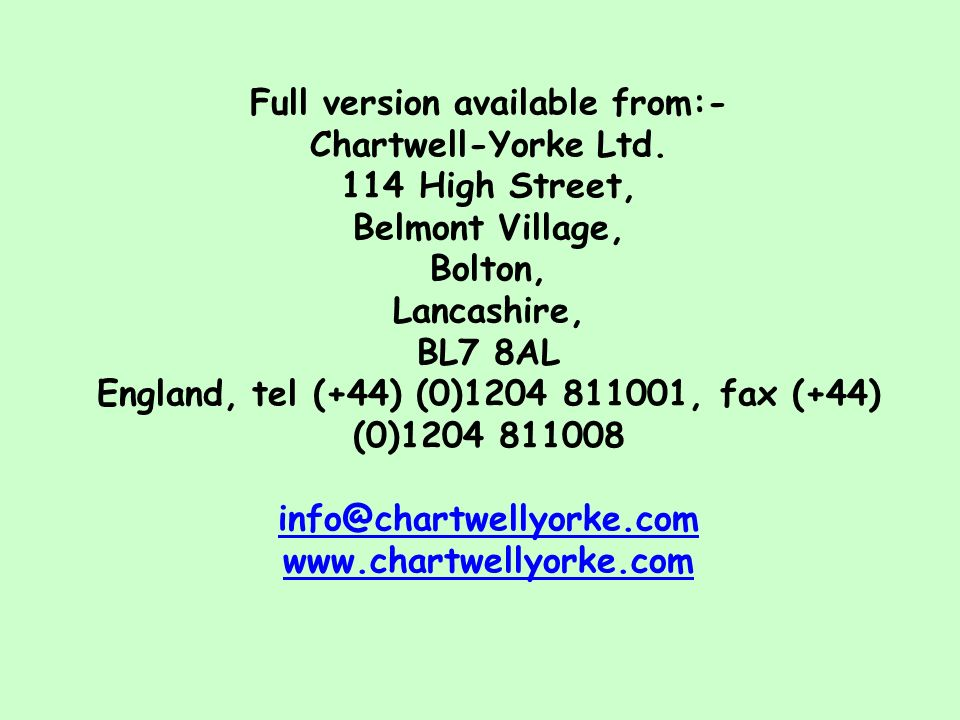 Full version available from:- Chartwell-Yorke Ltd. 114 High Street,
