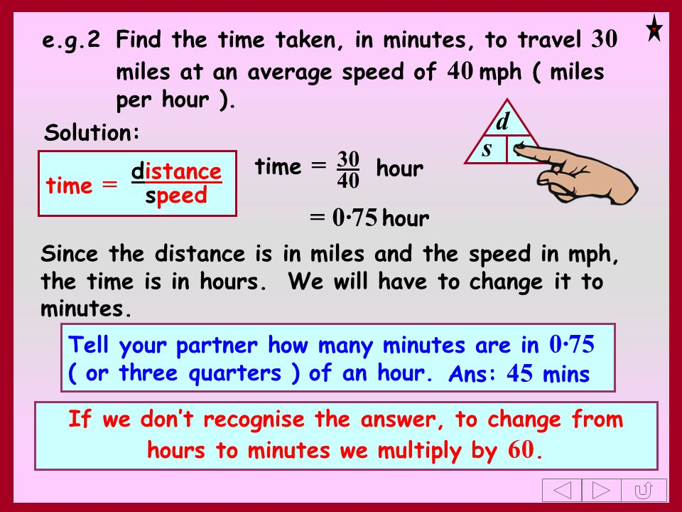 e.g.2 Find the time taken, in minutes, to travel 30 miles at an average speed of 40 mph ( miles per hour ).