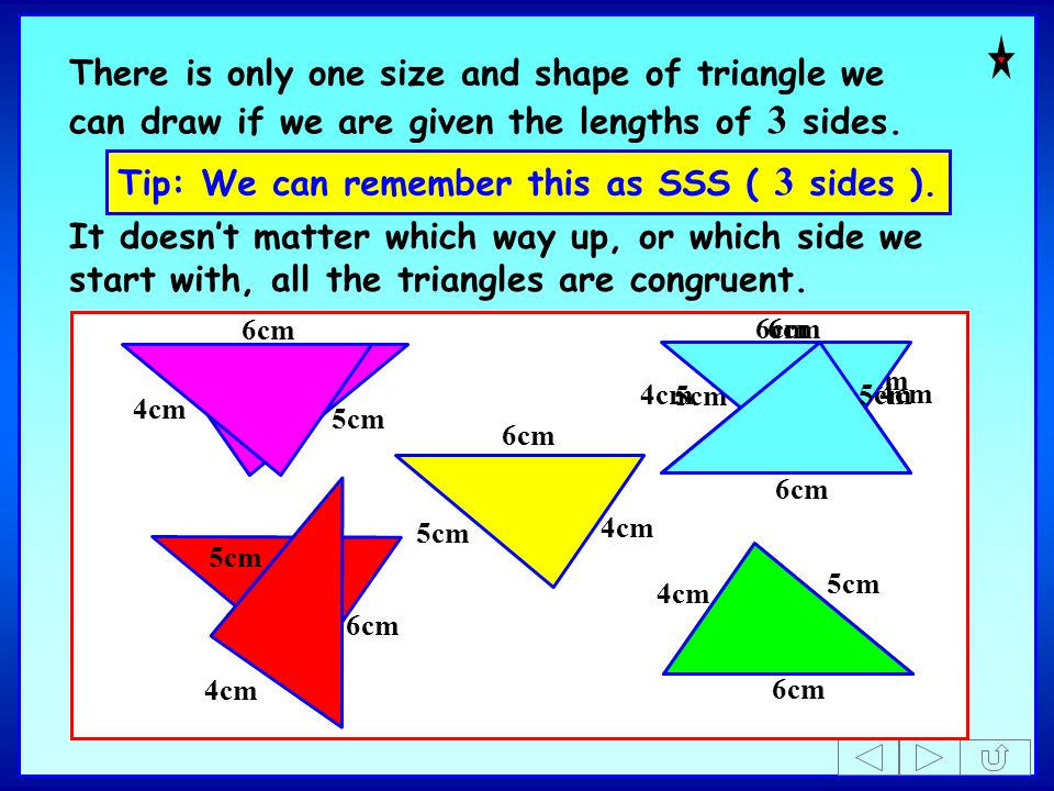 Tip: We can remember this as SSS ( 3 sides ).